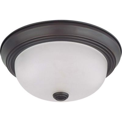 2-Light Mahogany Bronze Flush Mount with Frosted White Glass