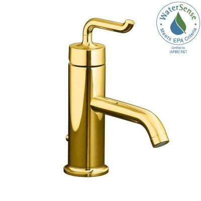 Purist Single Hole Single Handle Low-Arc Bathroom Vessel Sink Faucet in Vibrant Modern Polished Gold