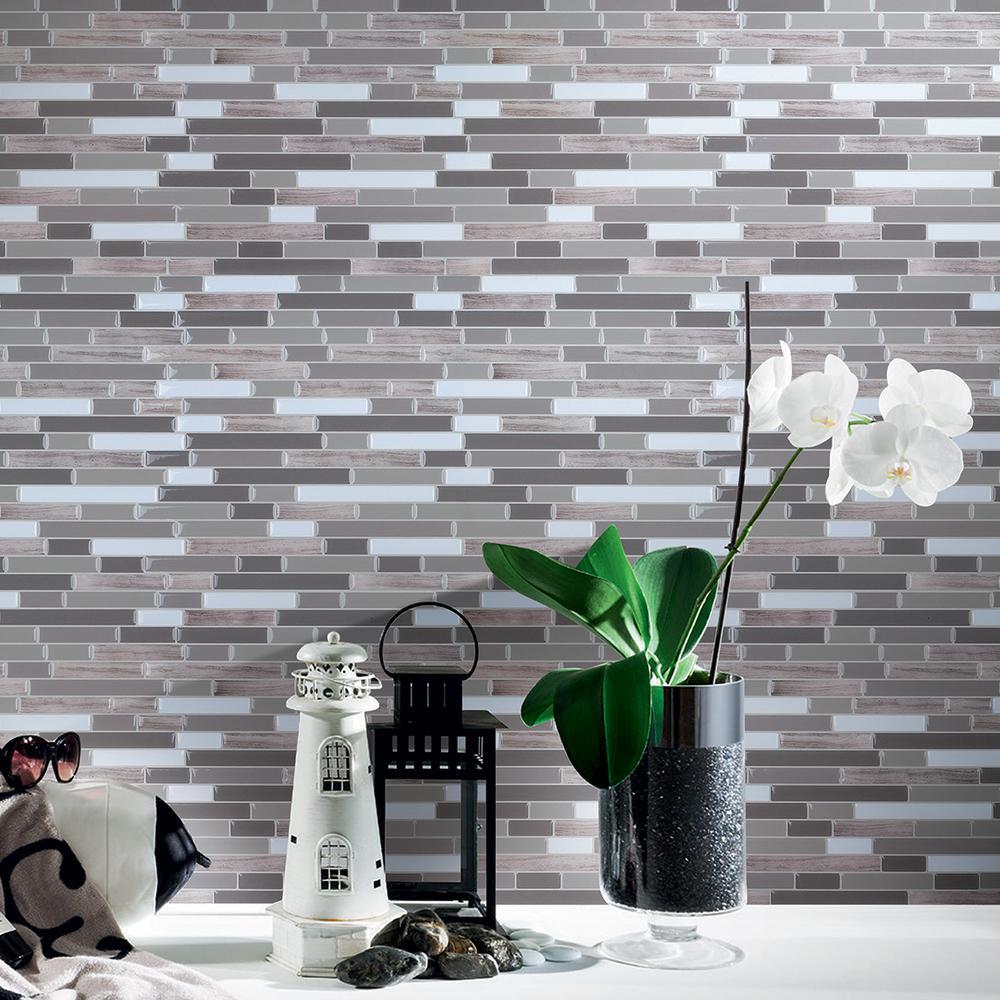 Peel and stick vinyl backsplash tile in long