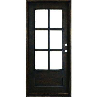 reputable site 9dcc1 e0005 37.5 in. x 81 in. Heritage 6-Lite Antique Rubbed Bronze Left-Hand Inswing  Painted Decorative Iron Prehung Front Door