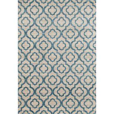 Moroccan Trellis Pattern High Quality Soft Blue 5 ft. x 7 ft. Area Rug