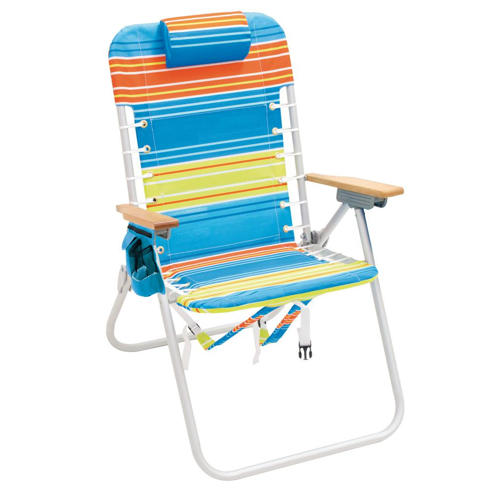 Rio Beach Highboy Aluminum Backpack Beach Chair With Wood