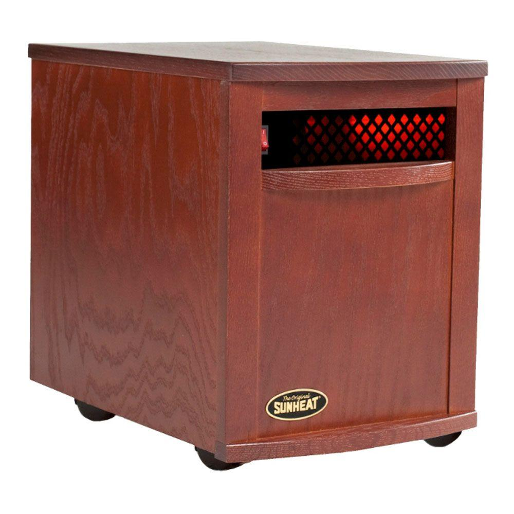 SUNHEAT 17.5 in. 1500-Watt Infrared Electric Portable Heater with Cabinetry - Mahogany-DISCONTINUED