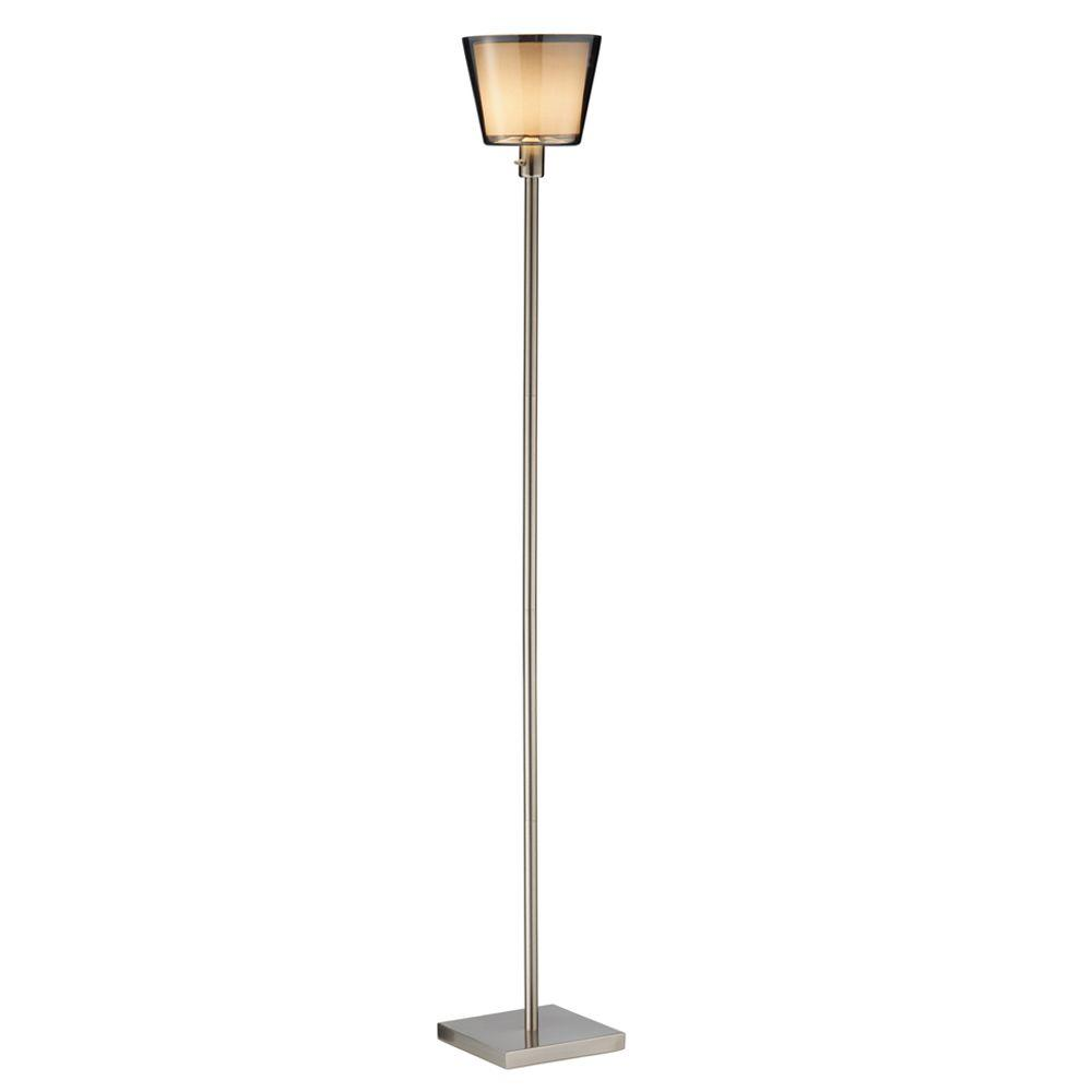 Prescott 71 in. Satin Steel Tall Floor Lamp