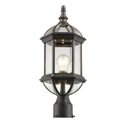 Gala 1-Light Outdoor Rust Post Light with Clear Beveled Glass