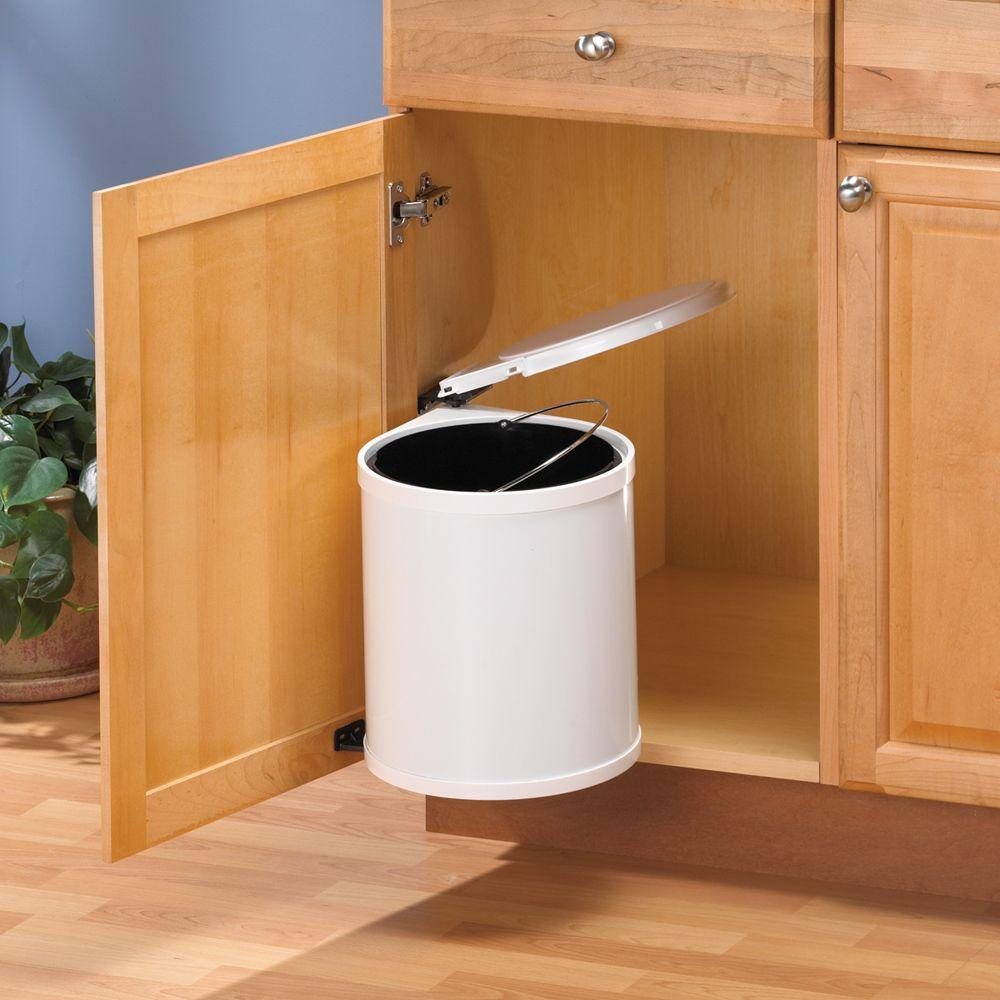Cabinet Pivot Out Trash Can White Garbage Waste Container Under Sink Storage Kit