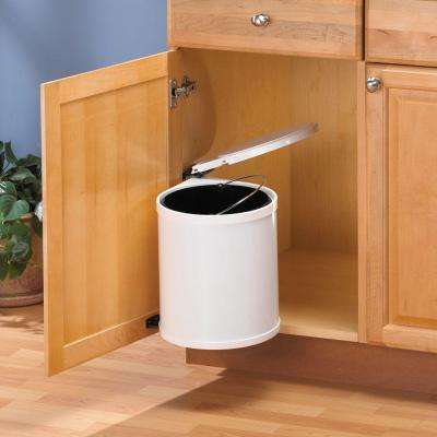 16.5 in. x 11 in. x 11 in. In Cabinet Pivot Out Trash Can in White