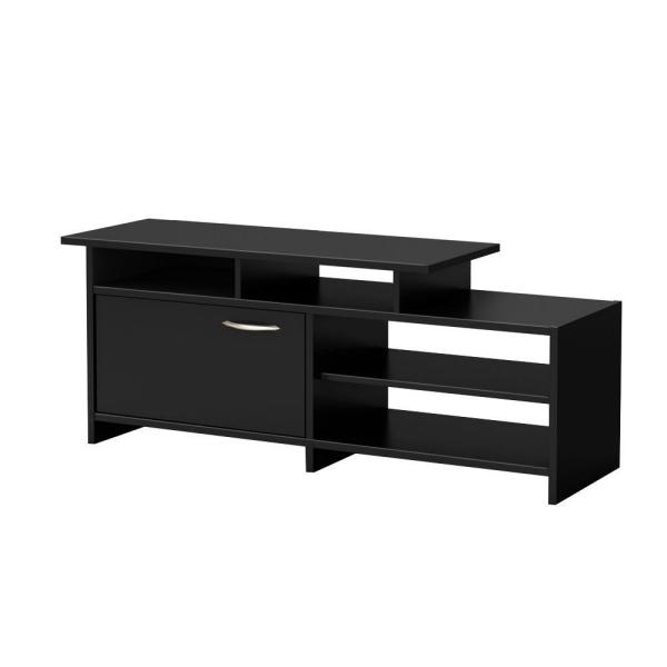South Shore Step One 50-Disk Capacity TV Stand in Pure Black