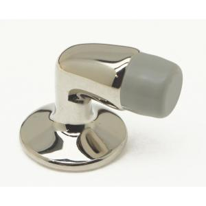 Mini Solid Brass Floor Mounted Gooseneck Door Stop In Bright Nickel