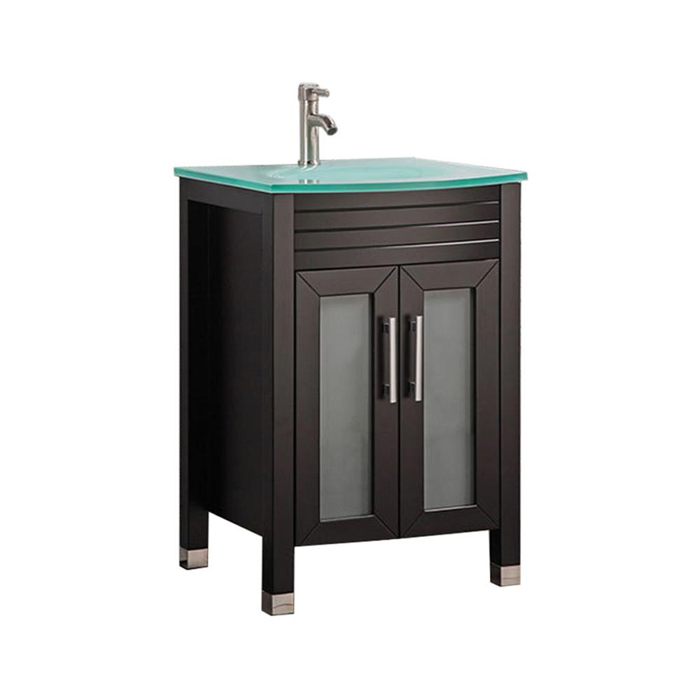 MTD Vanities Fort 24 in. W x 21 in. D x 36 in. H Bath Vanity in Espresso with Frosted Tempered Glass Vanity Top with Glass Basin