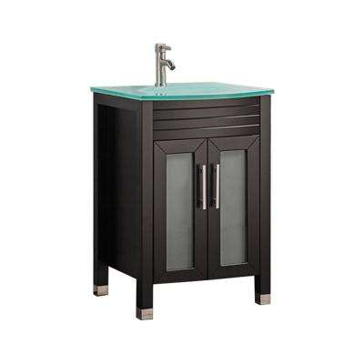 Fort 24 in. W x 21 in. D x 36 in. H Bath Vanity in Espresso with Aqua Tempered Glass Vanity Top with Glass Basin