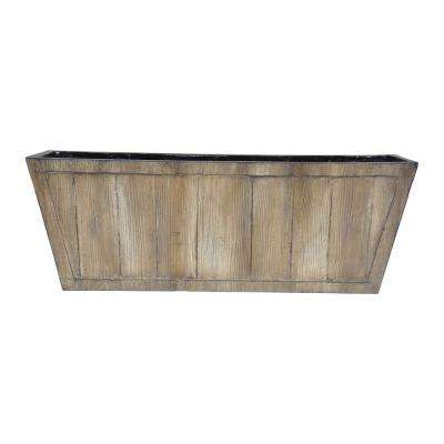 28 in. L x 10 in. W Rectangular Faux Wood Planter in White Washed Wood