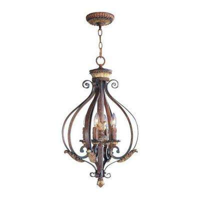 Providence 4-Light Verona Bronze Pendant with Aged Gold Leaf Accents
