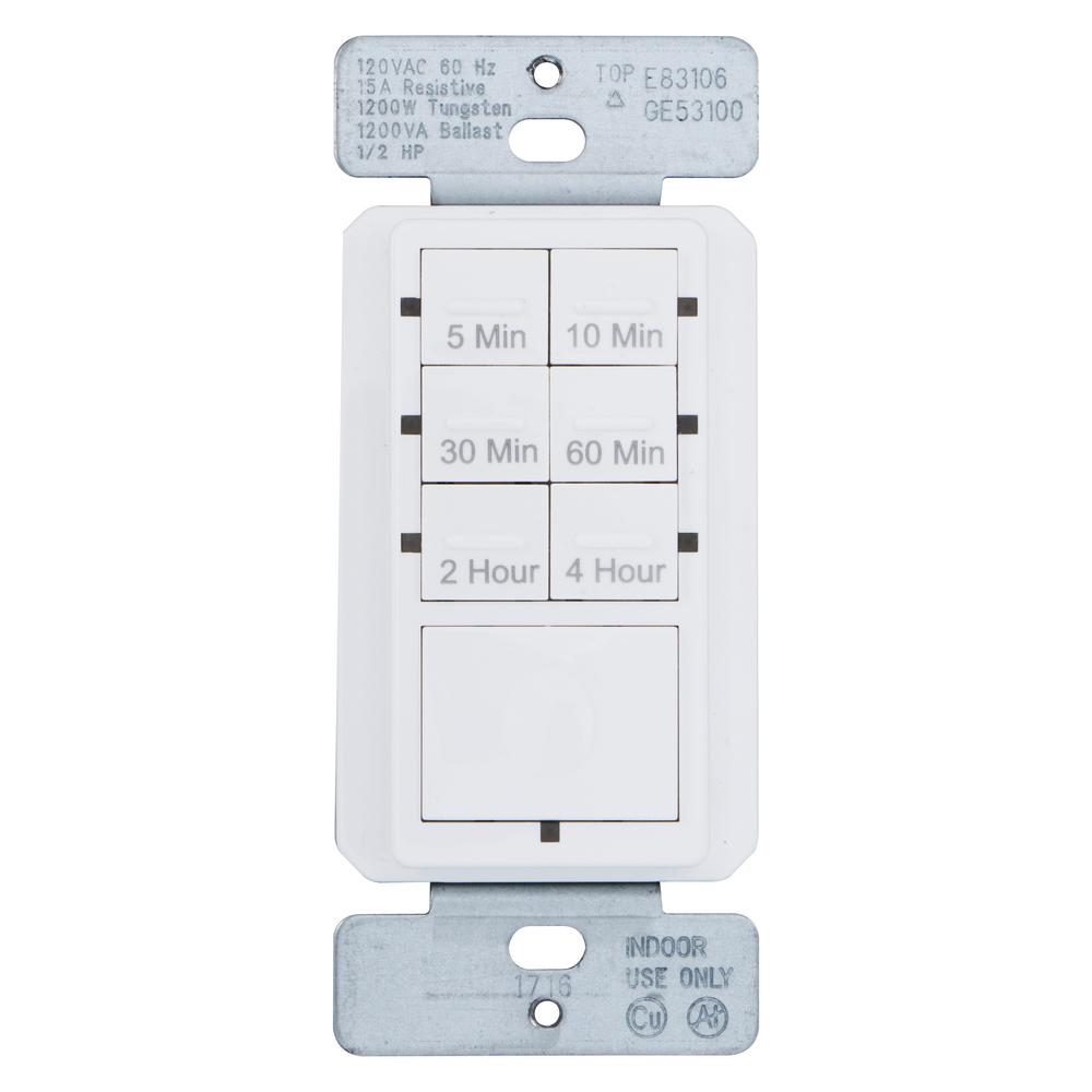 15 Amp 4-Hour Countdown In-Wall Timer with Ground Termina...