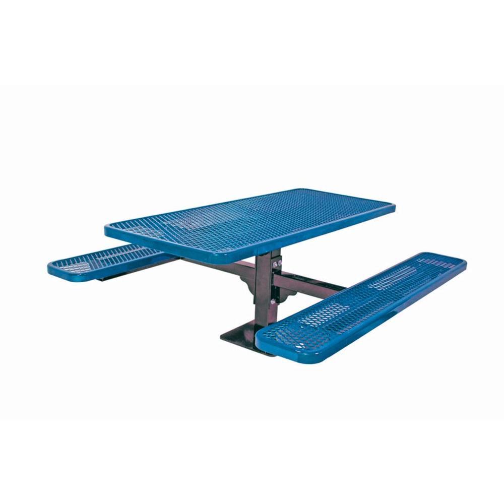 6 ft. Diamond Blue Commercial Park Surface Mount Rectangular Table