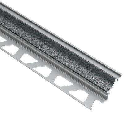 Dilex-AHK Pewter Textured Color-Coated Aluminum 3/8 in. x 8 ft. 2-1/2 in. Metal Cove-Shaped Tile Edging Trim