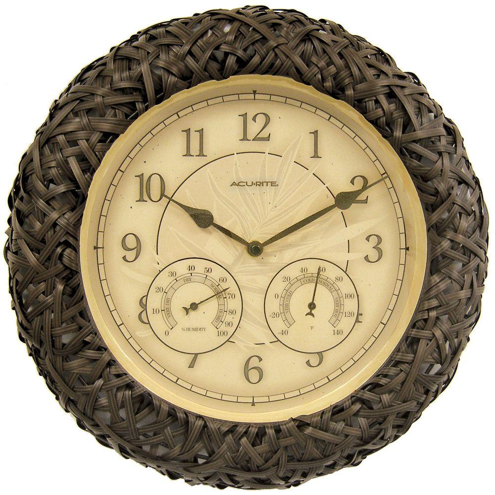 14 in. Brown Wicker Wall Clock with Analog Thermometer and Hygrometer