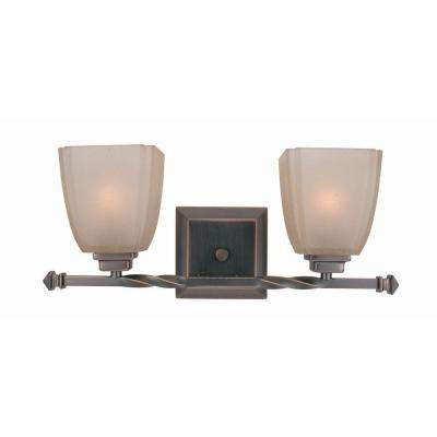 2-Light Copper Bronze Vanity Lamp with Woven Pattern Glass