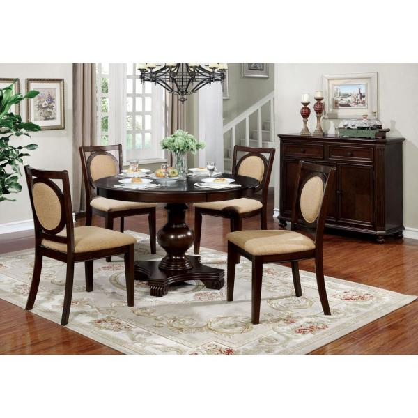 Furniture Of America Drusilla Brown Cherry Upholstered Side Chairs Set Of 2 Idf 3306sc The Home Depot