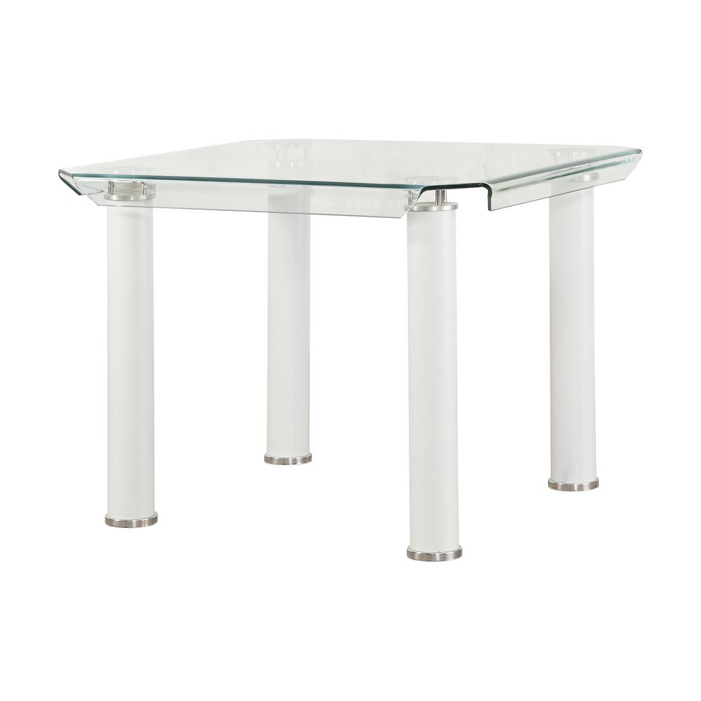 Gordias Clear Glass and White Counter Height Table