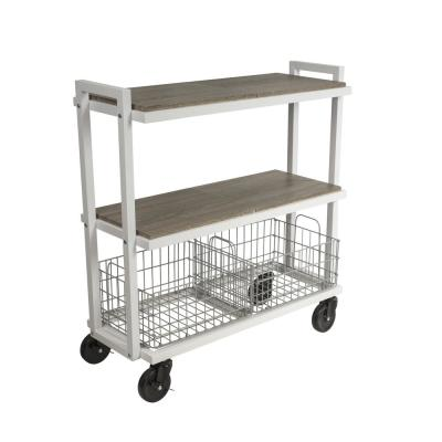 3-Tier Steel Cart System Wide in White