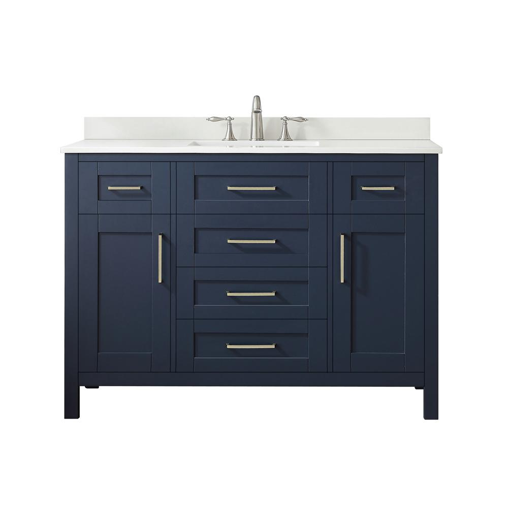 lowest price d90f1 0a1e4 OVE Decors Tahoe 48 in. W Bath Vanity in Midnight Blue with Cultured Marble  Vanity Top in White with White Basin and Mirror