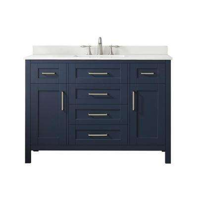 Tahoe 48 in. W Bath Vanity in Midnight Blue with Cultured Stone Vanity Top in White with White Basin and Mirror