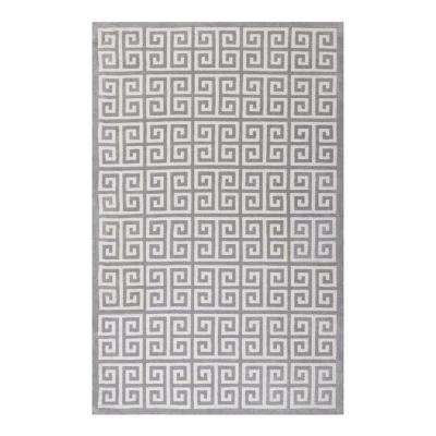 Freydis Greek Key 5 ft. x 8 ft. Area Rug in White and Light Gray