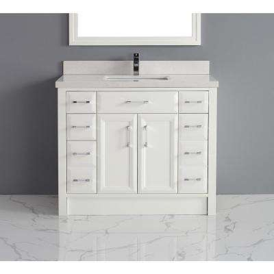 Calais 42 in. Vanity in White with Solid Surface Vanity Top