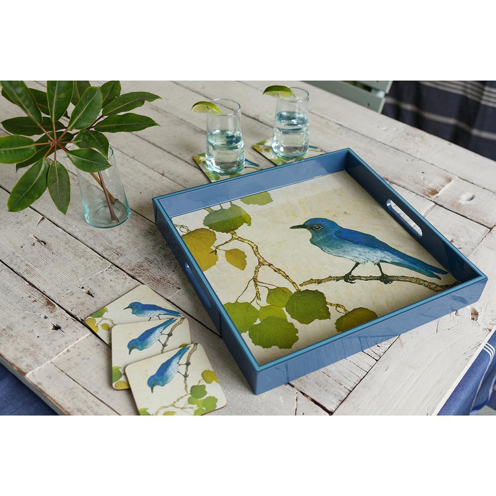Blue Lacquer Aspen bird Square Decorative Tray