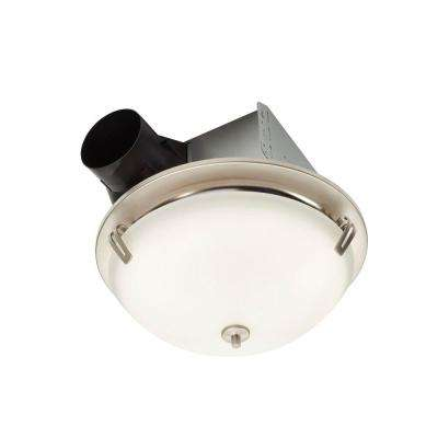 InVent Decorative Satin Nickel 100 CFM Ceiling Roomside Install Bathroom Exhaust Fan with Light and Globe