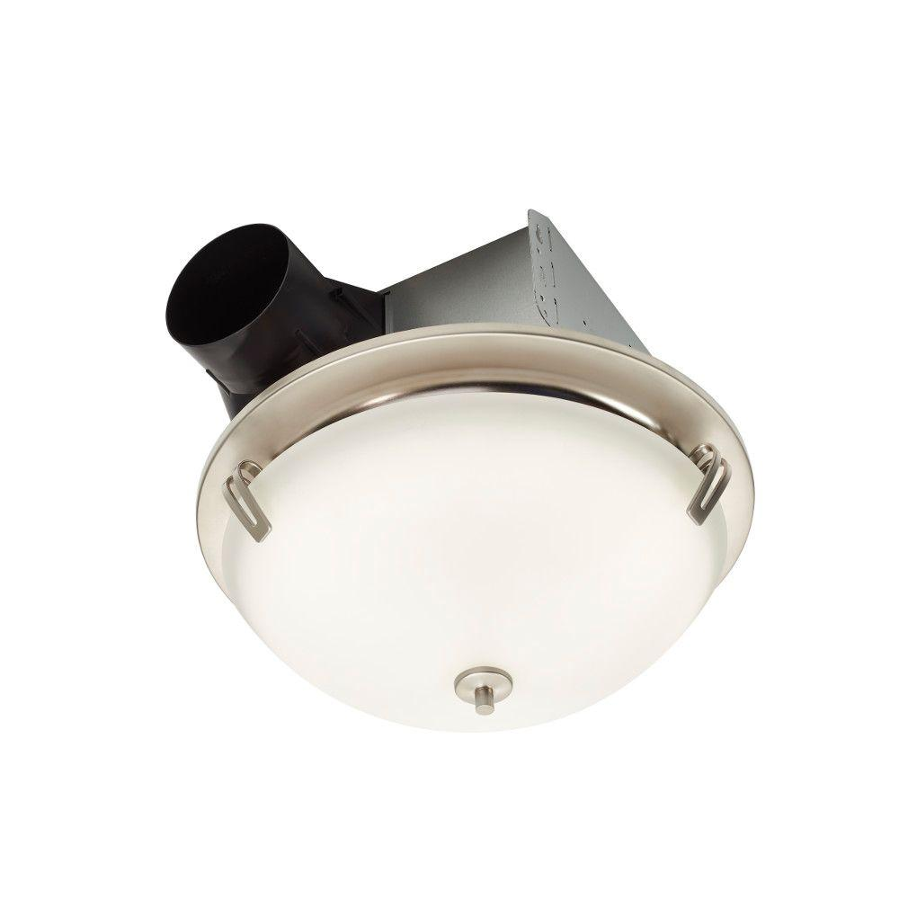 Nutone Invent Decorative Satin Nickel 100 Cfm Ceiling Exhaust Fan With Light And White Globe