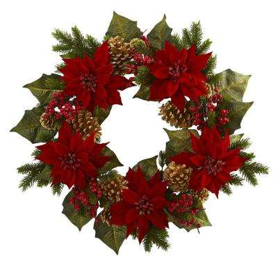 24 in. Unlit Artifical Holiday Wreath with Poinsettia, Berry and Golden Pine Cone