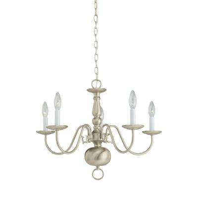 Traditional 5-Light Brushed Nickel Chandelier
