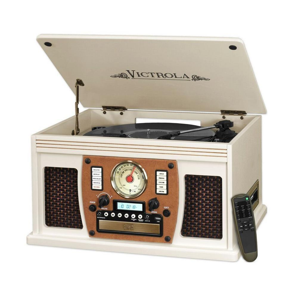 7-in-1 Bluetooth Record Player with USB Recording in White The Victrola 7-in-1 wooden record player combines modern technology with a nostalgic design. This model is ideal for people who value the original quality of vinyl, but also enjoy the latest in audio technology. This model looks great with any decor whether traditional or contemporary.
