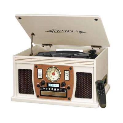 7-in-1 Bluetooth Record Player with USB Recording in White