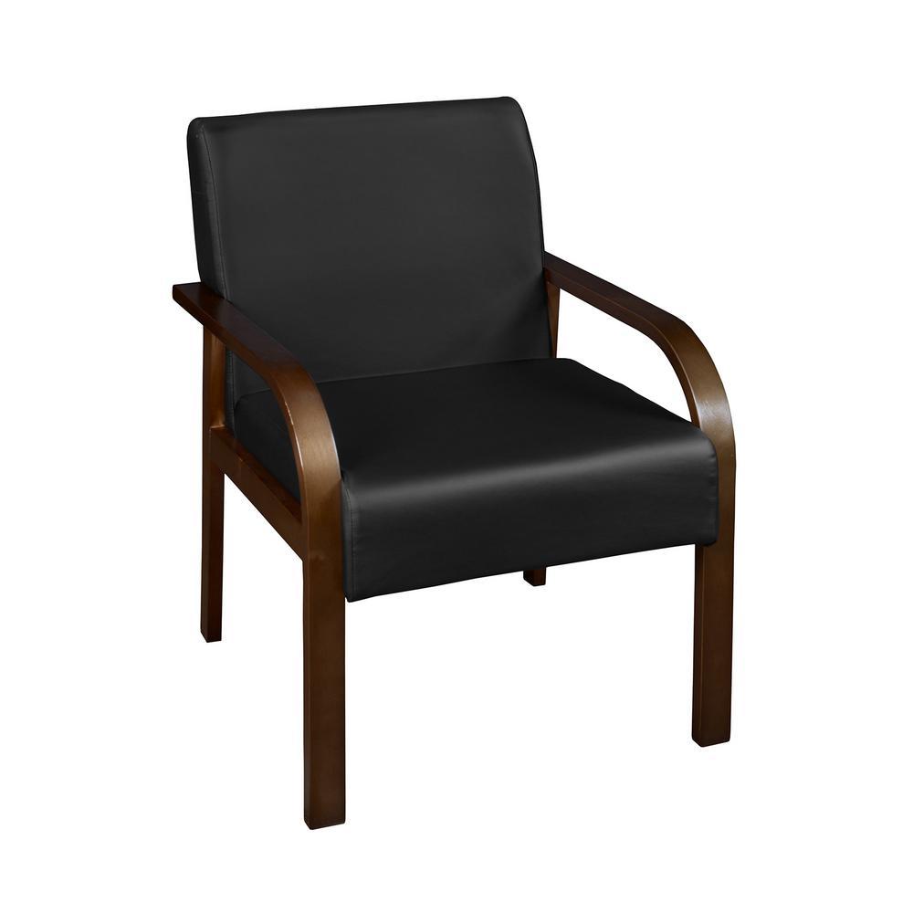 Merveilleux Niche Mia Mocha Walnut/Black Vinyl Bentwood Lounge Side Chair