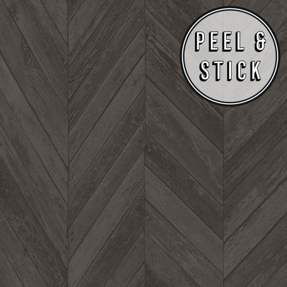 Transform Dark Grey Herringbone Wood Peel and Stick Removable Wallpaper