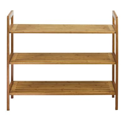 12-Pair Natural 3-Tier Bamboo Shoe Organizer