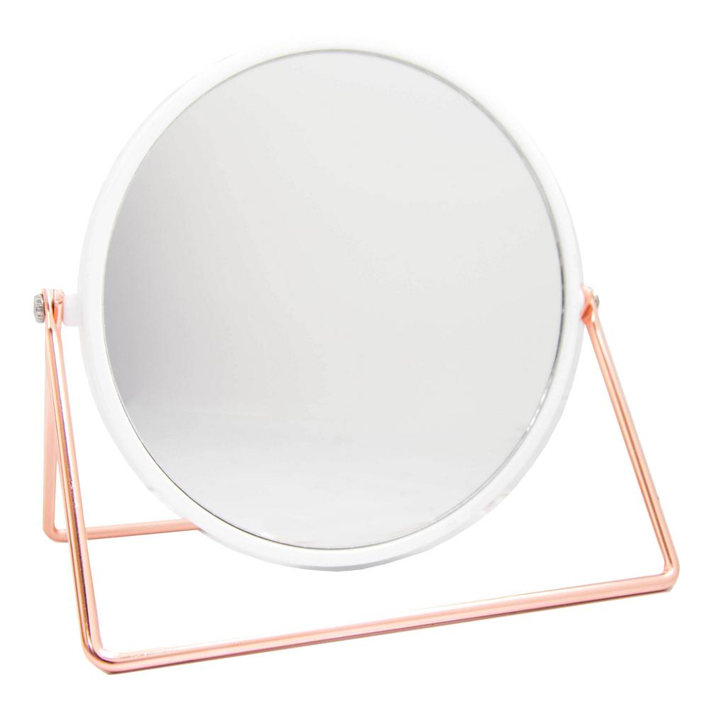 Home Basics 4.82 in. x 6.63 in. Cosmetic Mirror with Sleek Stand in Rose Gold