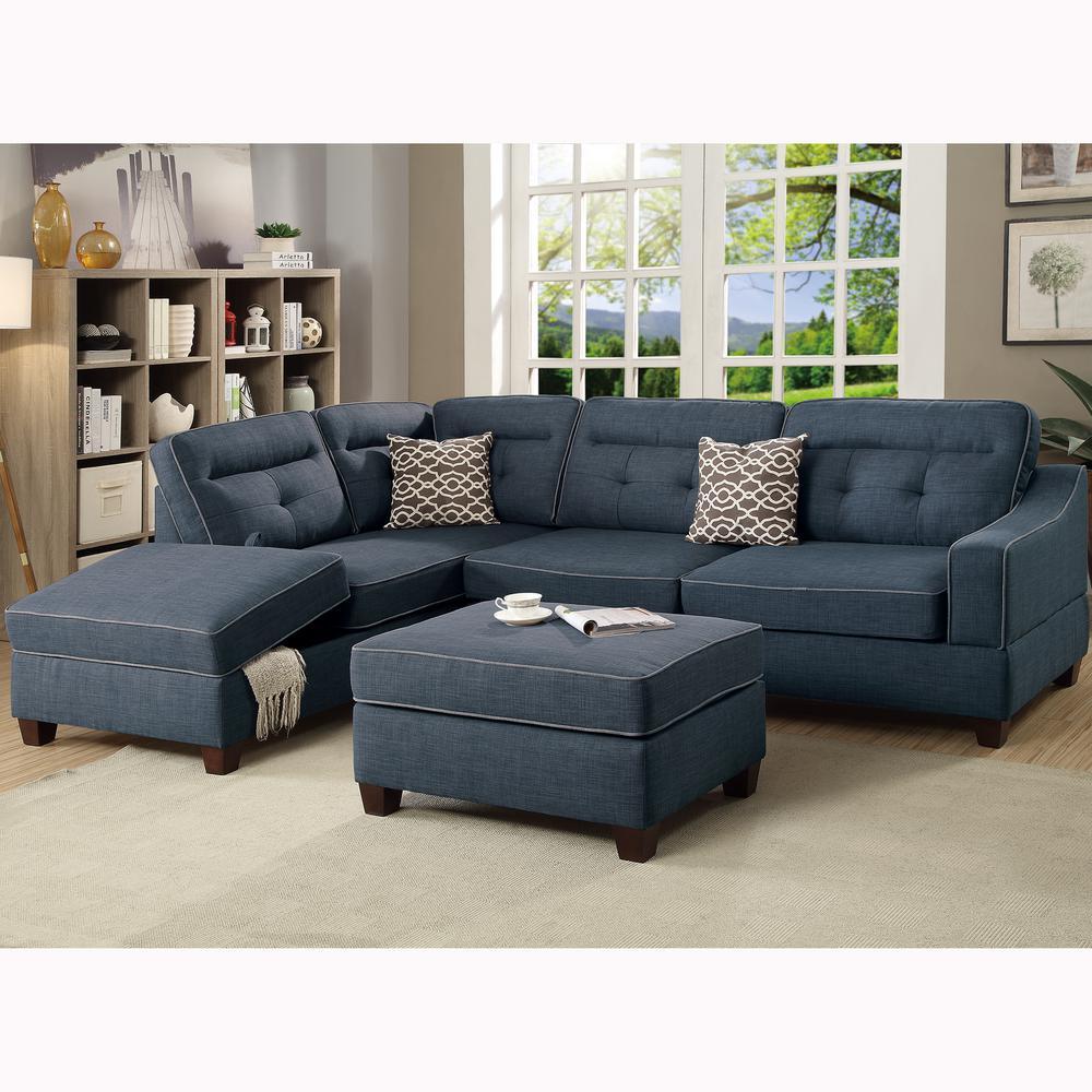 venetian worldwide capri 3 piece dark blue sectional sofa with storage ottoman shop your way. Black Bedroom Furniture Sets. Home Design Ideas