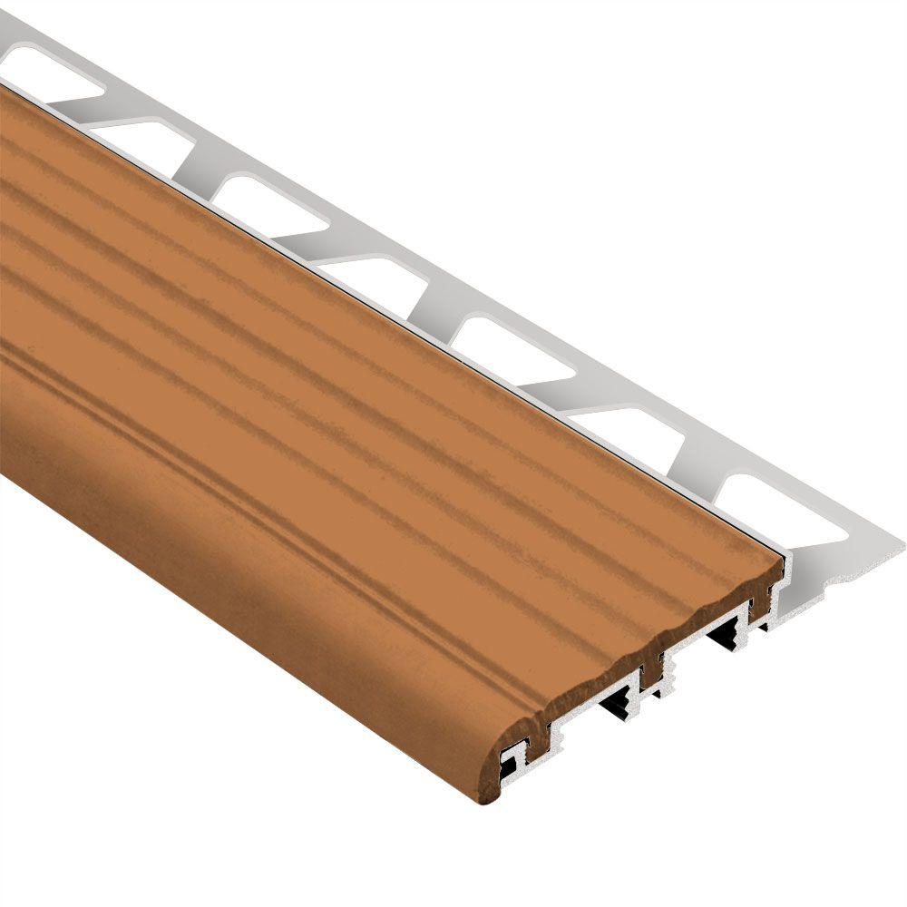 Schluter Trep-B Aluminum with Nut Brown Insert 1/2 in. x 8 ft. 2-1/2 in. Metal Stair Nose Tile Edging Trim