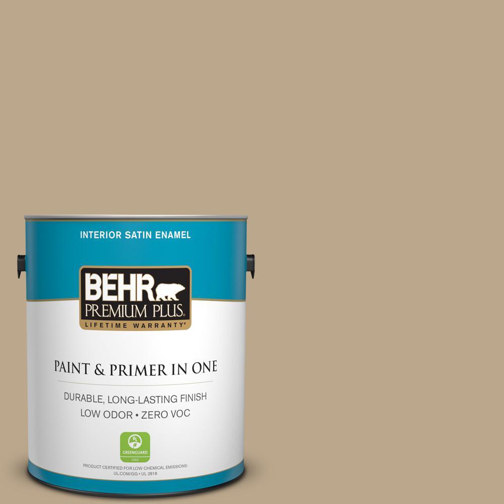 BEHR Premium Plus Home Decorators Collection 1-gal. #HDC-NT-16 Natural Chamois Zero VOC Satin Enamel Interior Paint