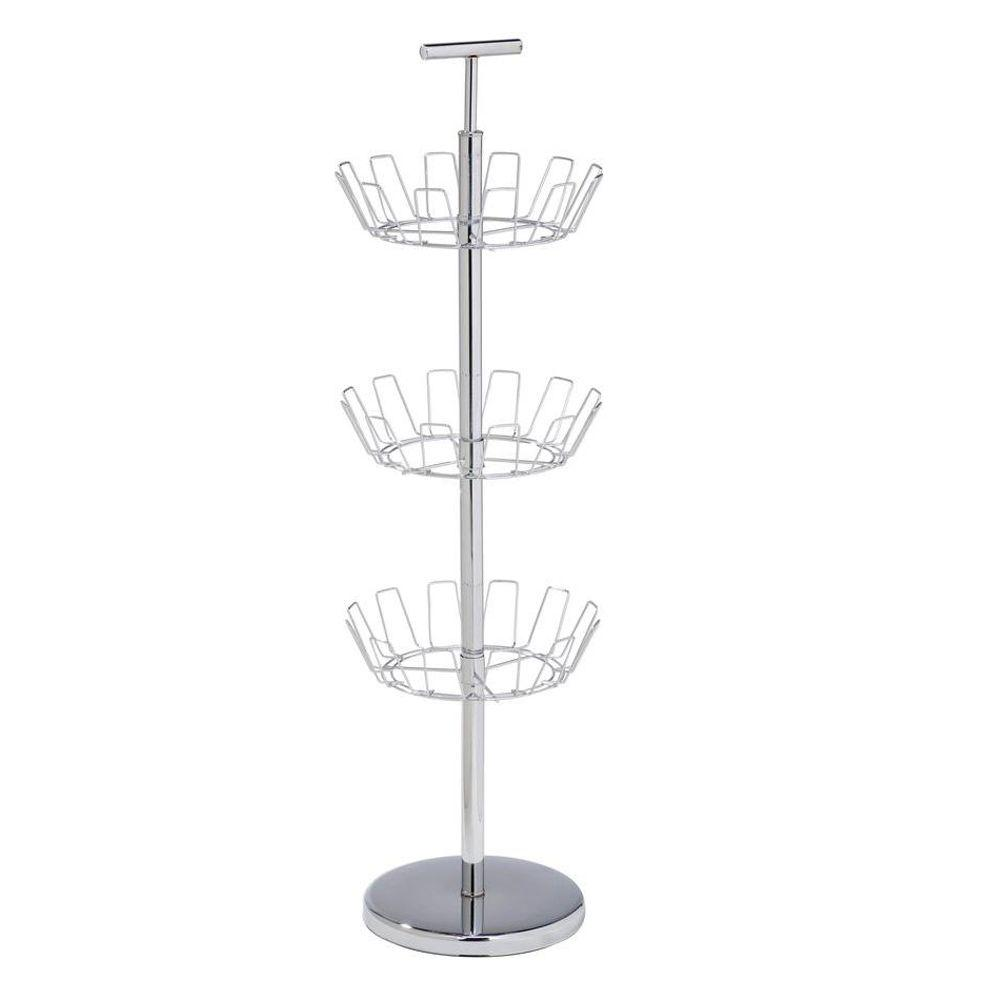 Honey-Can-Do 3-Tier 18-Pair Steel Shoe Tree in Chrome