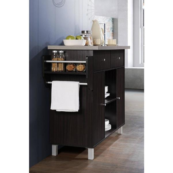 Hodedah Kitchen Island Chocolate Grey With Spice Rack And Towel Holder Hik69 Choc Grey The Home Depot