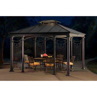 Dallas 10 ft. x 12 ft. Black Aluminum and Steel Gazebo with 2-Tier Black Steel and Polycarbonate Roof Hardtop