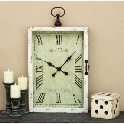 34 in. x 20 in. Wood and Metal Wall Clock