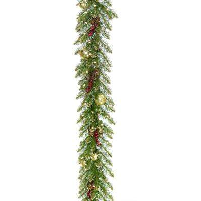9 ft. x 10 in. Glittery Gold Dunhill Fir Garland with Red Berries, Gold Edged Cones, Gold Ornaments