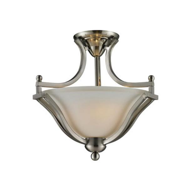 Lawrence 2-Light Brushed Nickel Incandescent Ceiling Semi-Flush Mount Light