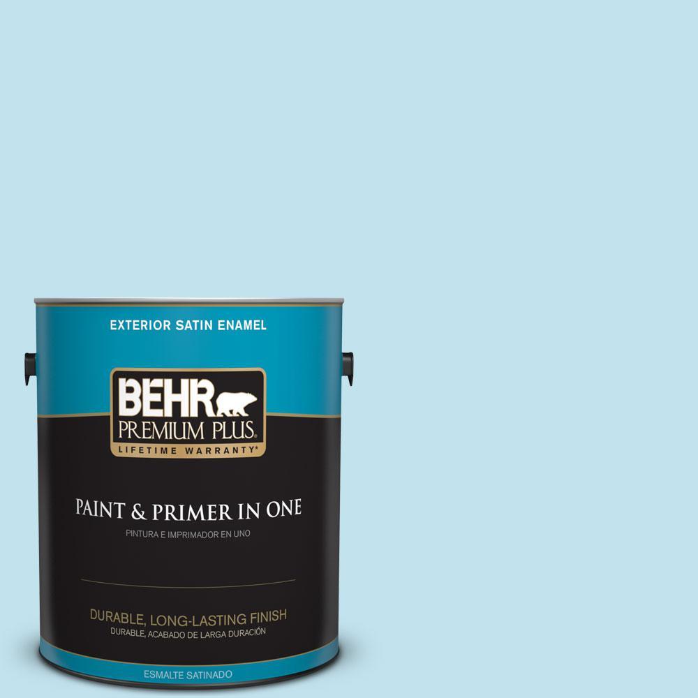 BEHR Premium Plus 1-gal. #540C-2 Serene Sky Satin Enamel Exterior Paint